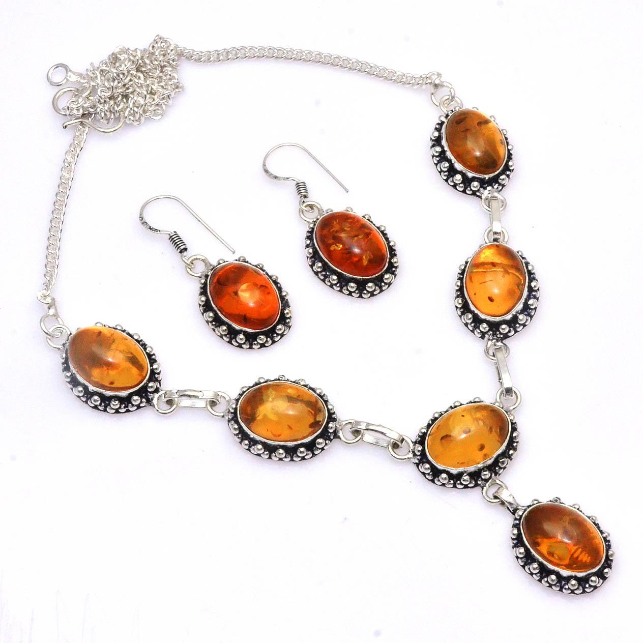 Подлинное ожерелье янтарного цвета + серебряные серьги сверху меди, 50 см, N4686