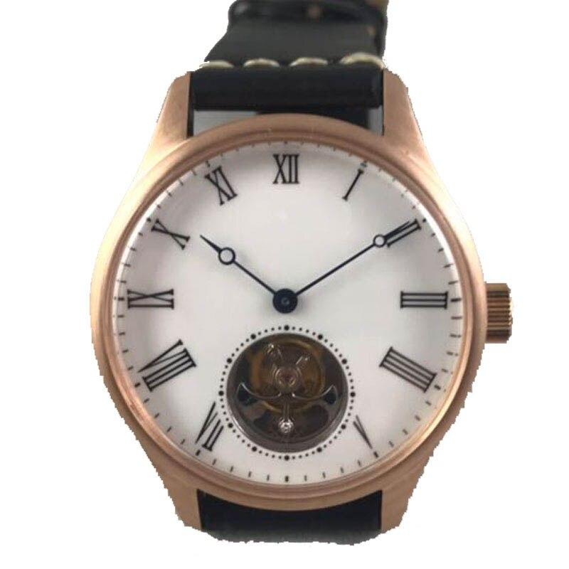 42 مللي متر كلاسيكي بسيط ساعة رجالية ميكانيكية St8000 توربيون حركة برونزية الياقوت زجاج ساعات جلد للرجال ماركة فاخرة