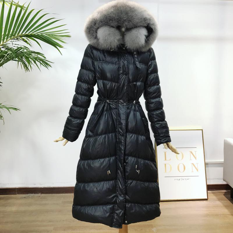 Winter Down Coat Women Long Big Fur Collar Slim Fashion White Duck Down Jacket 2019 New Explosion Models Parkas Overcoat f1950