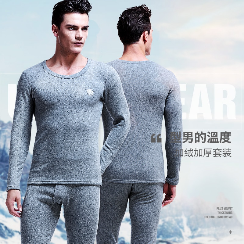 Men's plush and thickened autumn and winter round neck cold proof tight youth cotton sweater autumn clothes autumn trousers ther
