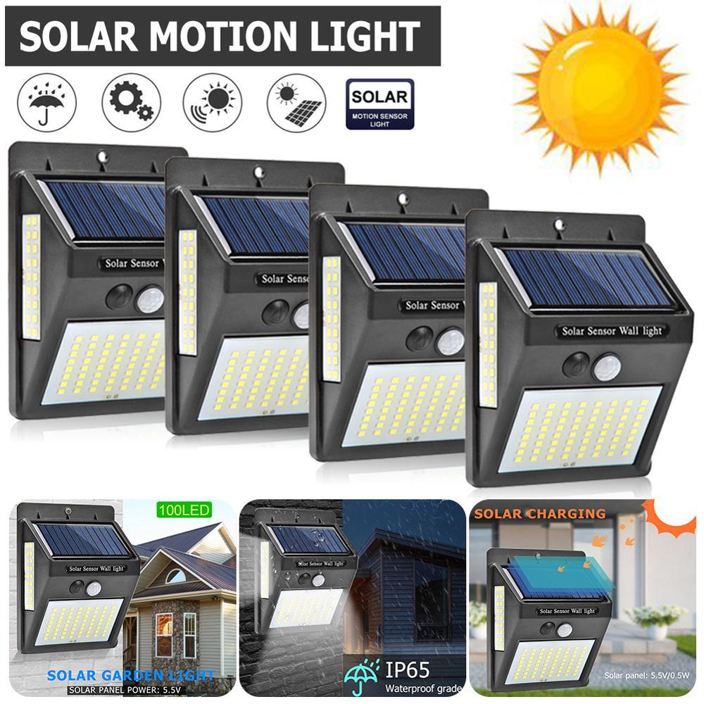 100 LED luz Solar jardín lámpara Solar PIR Sensor de movimiento energía Solar a prueba de agua para pared exterior decoración de calle