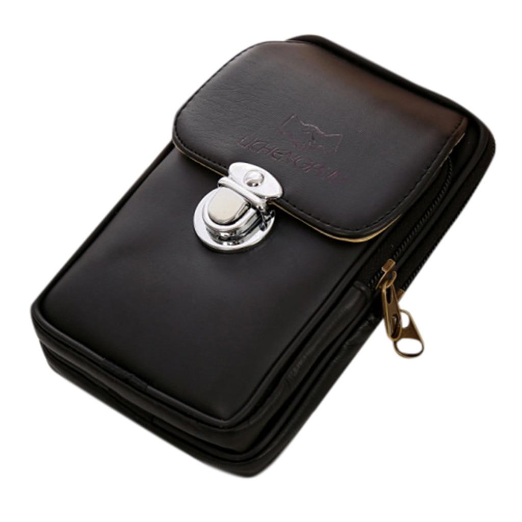 Pochete masculina de couro, bolsa de cintura casual para homens, de lona, multifuncional, estilo fanny, para uso ao ar livre