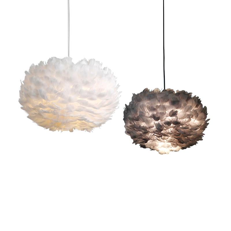 Luces colgantes de pluma LED nórdica para dormitorio, estudio guardarropa, tienda de ropa, decoración de restaurante, lámpara colgante artística creativa E27