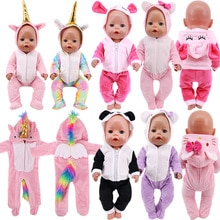 Doll Baby Clothes Cute Kitty Unicorn Panda Suits Jumpsuits Rompers For 18 Inch American of girl`s&43
