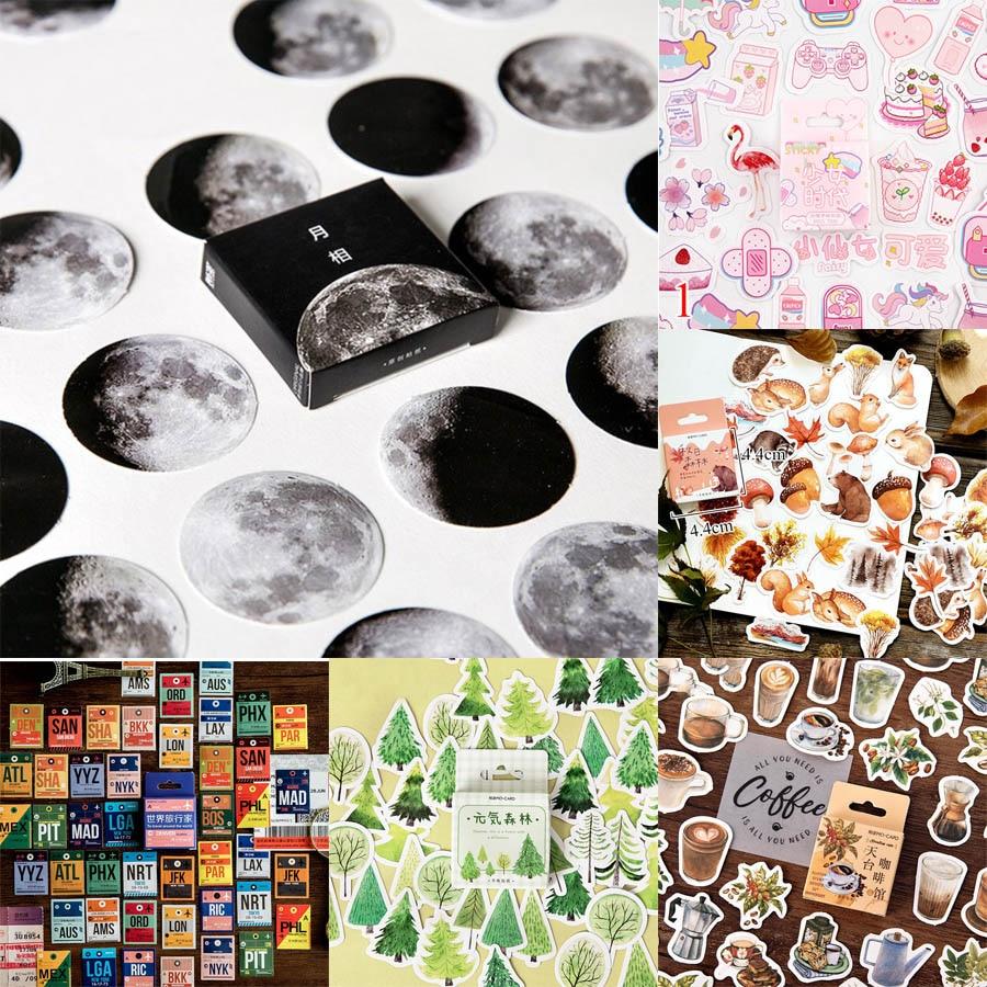 45 шт./кор. канцелярские наклейки Vaporwave DIY Planet Sticky Paper Kawaii Moon Plants наклейки для украшения дневник в стиле Скрапбукинг