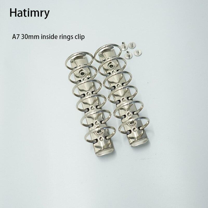 Anillos de clip de carpeta Hatimry A7 3cm clip de anillos grandes 6 agujeros de color plateado para cuaderno de bricolaje A7 tamaño escolar los proveedores
