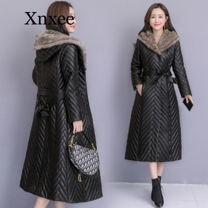 black Winter long Leather Jacket Women Sheep Down Jackets Bring Cap Chaqueta Cuero Mujer Slimming Dames Jassen Winter Black Coat enlarge