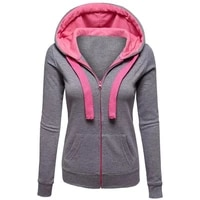 solid color long sleeve outwear women zipper hooded coat ladies casual jacket