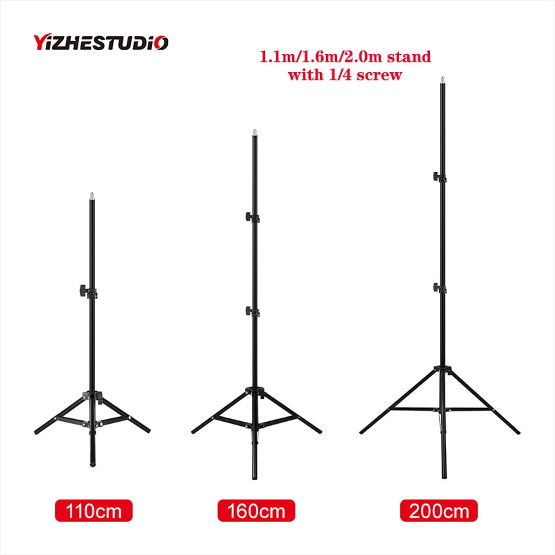 Yizhestudio Photographic lighting stand ,1.1m/1.6m/2.0m ring lamp stand with 1/4 screw adjustable tripod for phone ring light