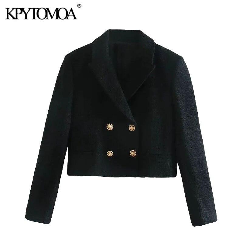 سترة نسائية KPYTOMOA موضة 2021 مزدوجة الصدر من التويد المقصوصة معطف عتيق بأكمام طويلة وجيوب ملابس خارجية نسائية أنيقة