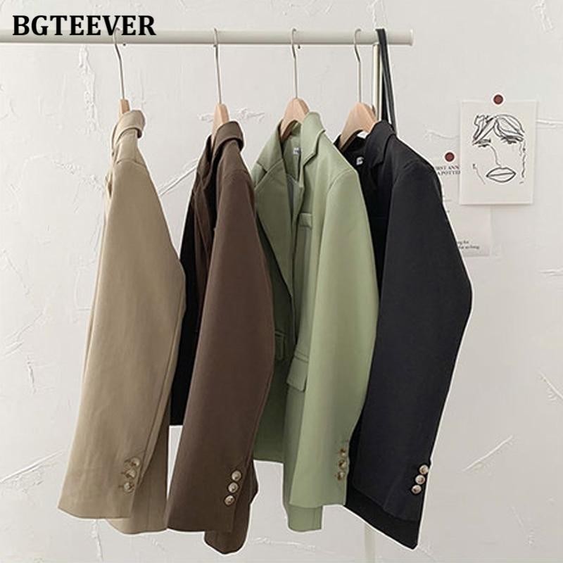 BGTEEVER سترات نسائية أساسية غير رسمية ذات ياقة مدببة جواكت نسائية فضفاضة واحدة الصدر سترات للخريف والشتاء ملابس خارجية 2021