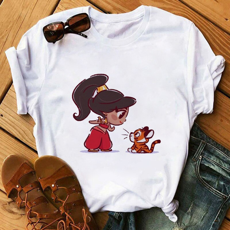 Camiseta de manga corta para mujer, ropa de princesa sirenita Kawaii para...