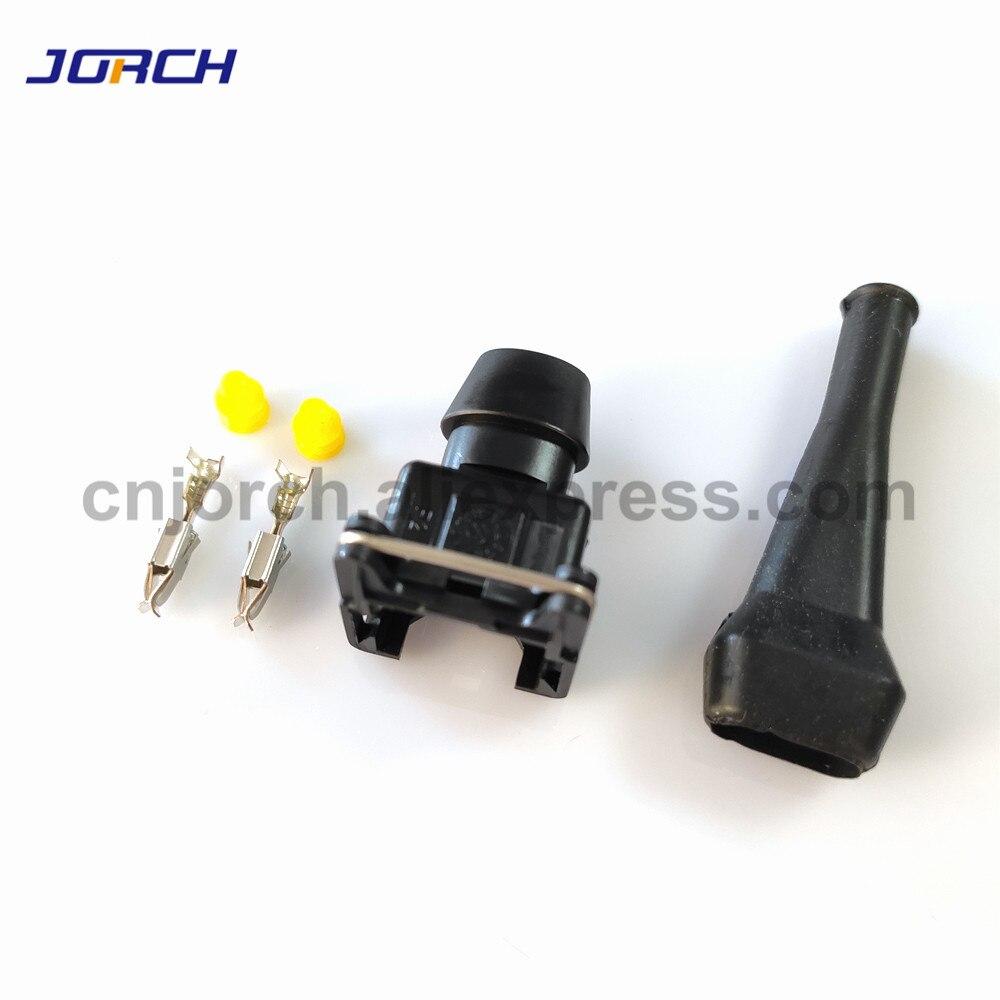 1 juego 2 Pin AMP Tyco inyector de combustible conector impermeable Junior Power (mini timer) enchufe con bota de goma para coches