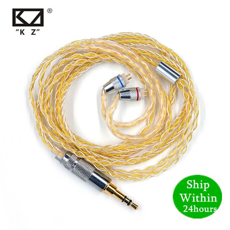 Auriculares KZ, cable de auriculares chapado en oro y plata para ZS10 Pro ZSN ZS10 AS10 AS06 ZST ES4 ZSN Pro AS16