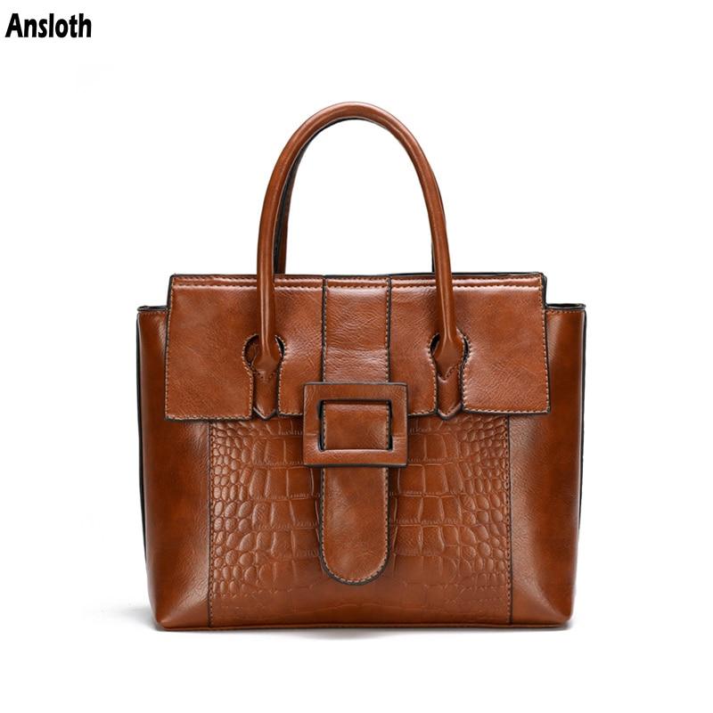 Ansloth New Casual PU Leather Totes Bags Female Retro Crocodile Pattern Women Bags Luxury Designer Elegant HandBags Lady HPS1035