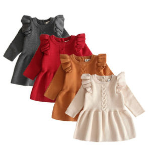 Fashion Kids Baby Girls Sweater Dress Ruffles Long Sleeve Solid Knit Warm A-Line Dress Clothes Autumn Winter Tops 0-5Y