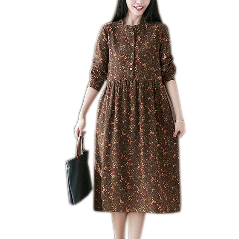 Ethnic Style Mori Girl Vintage Dress Womens Floral Medium Long Casual office Dress Robe Femme Hippie Boho Female Dresses OK083
