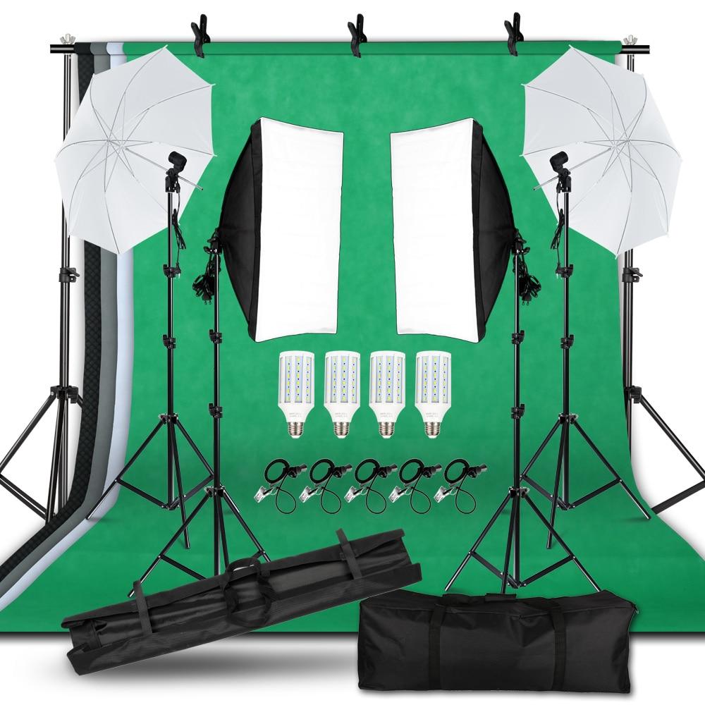SH التصوير الفوتوغرافي استوديو صور طقم الإضاءة 2x3 متر خلفية حامل ثلاثي القوائم مع 4 قطعة حقيبة خلفية المحمولة مصباح ليد سوفتبوكس مظلة