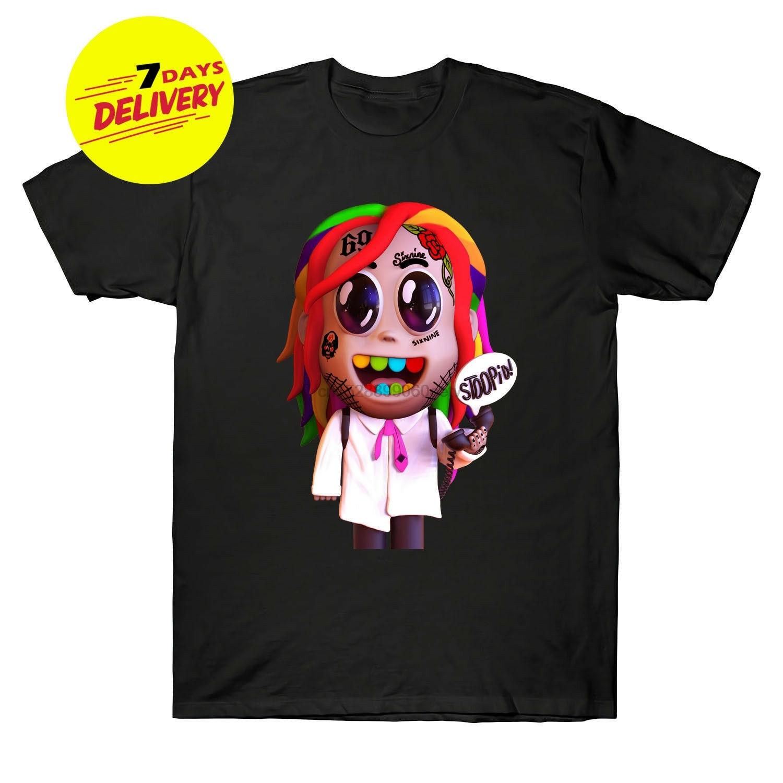 Camiseta negra de algodón para rapero de Hip Hop Tekashi69 6ix9ine para niño de Stoopid, S-3XL