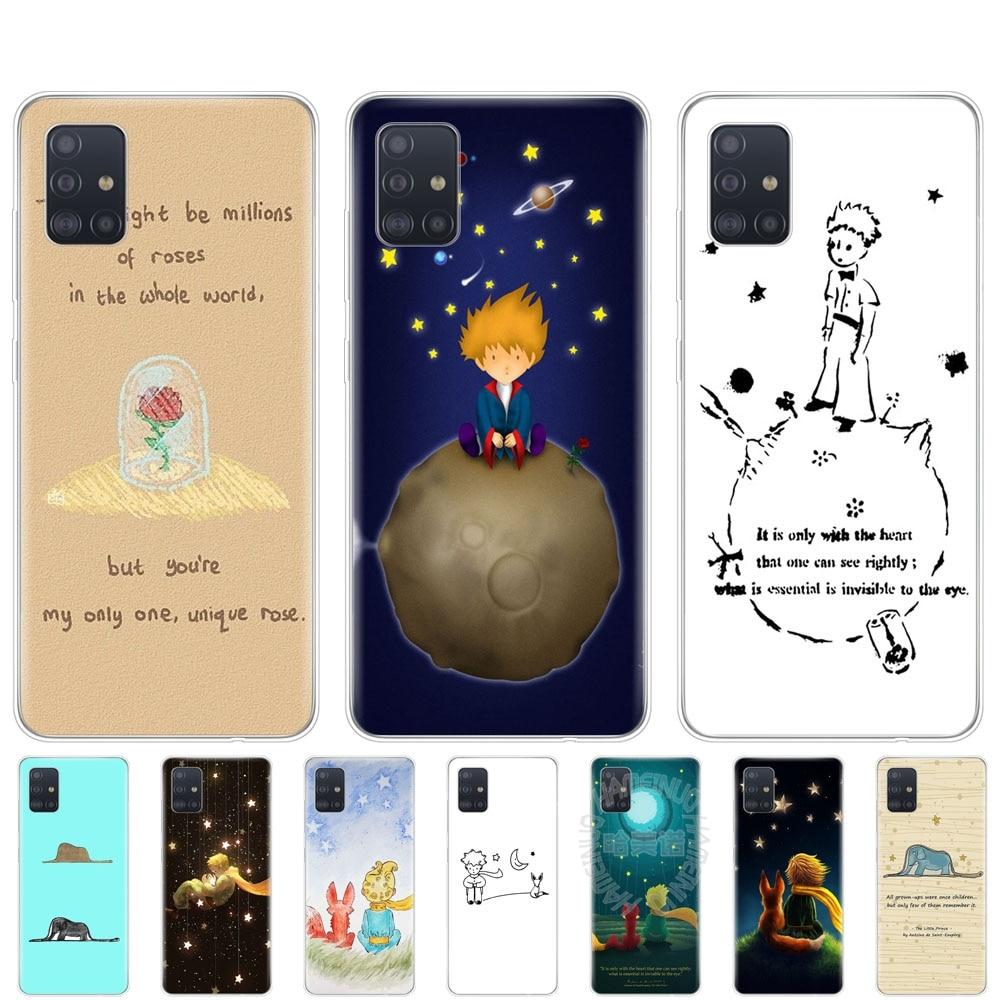 silicon phone cover case for samsung galaxy A51 A31 A41 A71 A01 A81 A91 A30S A20S A50S M30S M40S fundas little prince fox quotes