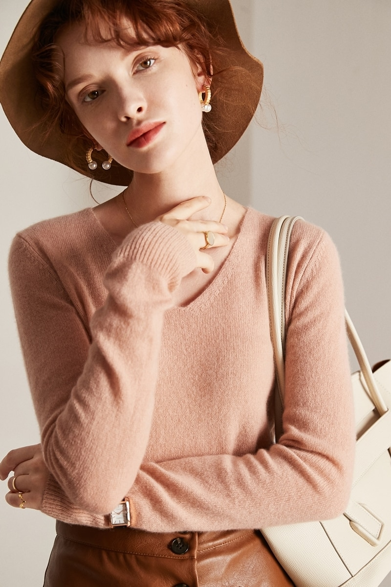 Tailor Shop Custom Made All-match Sweater Pure Cashmere Color Sweetheart Neckline Slim Bottoming Sweater Women enlarge