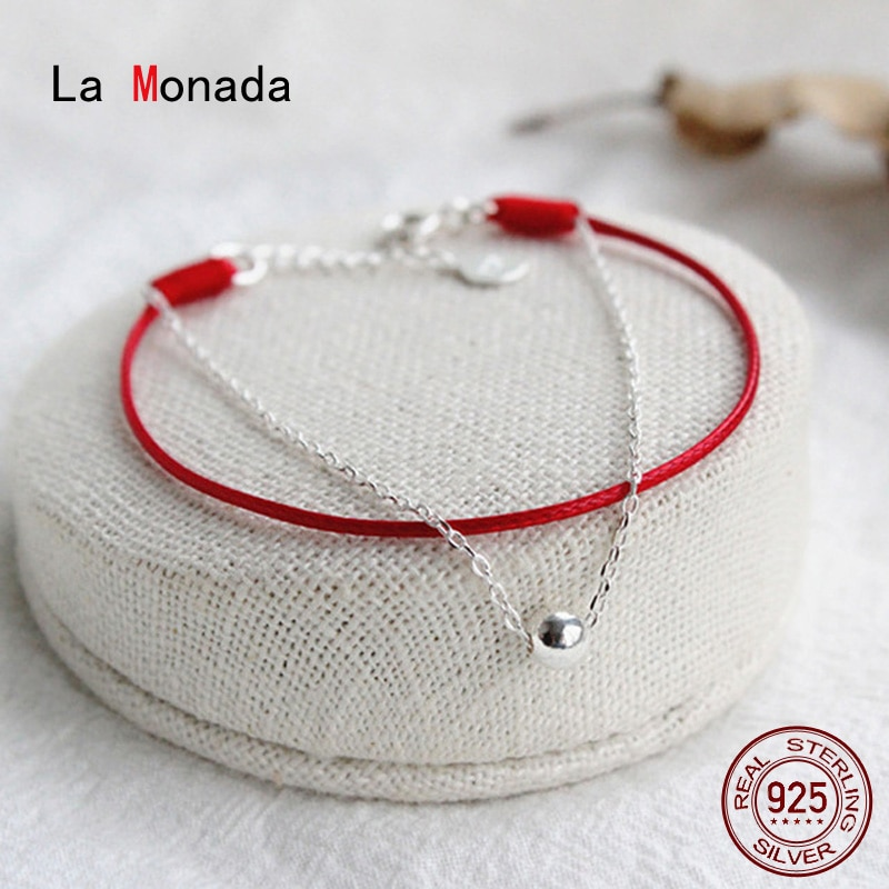 La monada fio vermelho para a mão 925 prata esterlina pulseira fio vermelho corda pulseiras para mulher prata 925 sterling grânulo