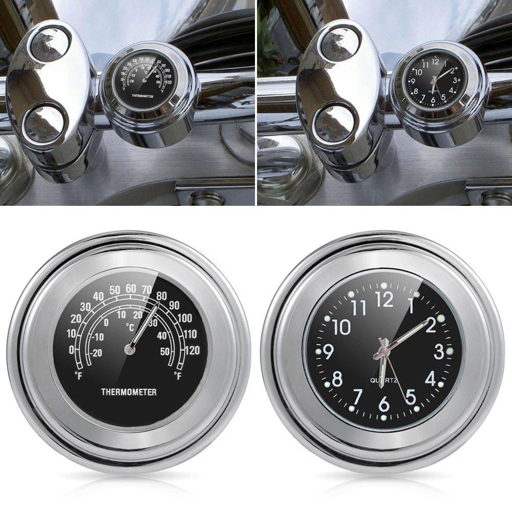 22-25mm motocicleta guiador relógio termômetro moto guiador montar dial relógio de pulso termômetro temp gauga para yamaha kawasaki