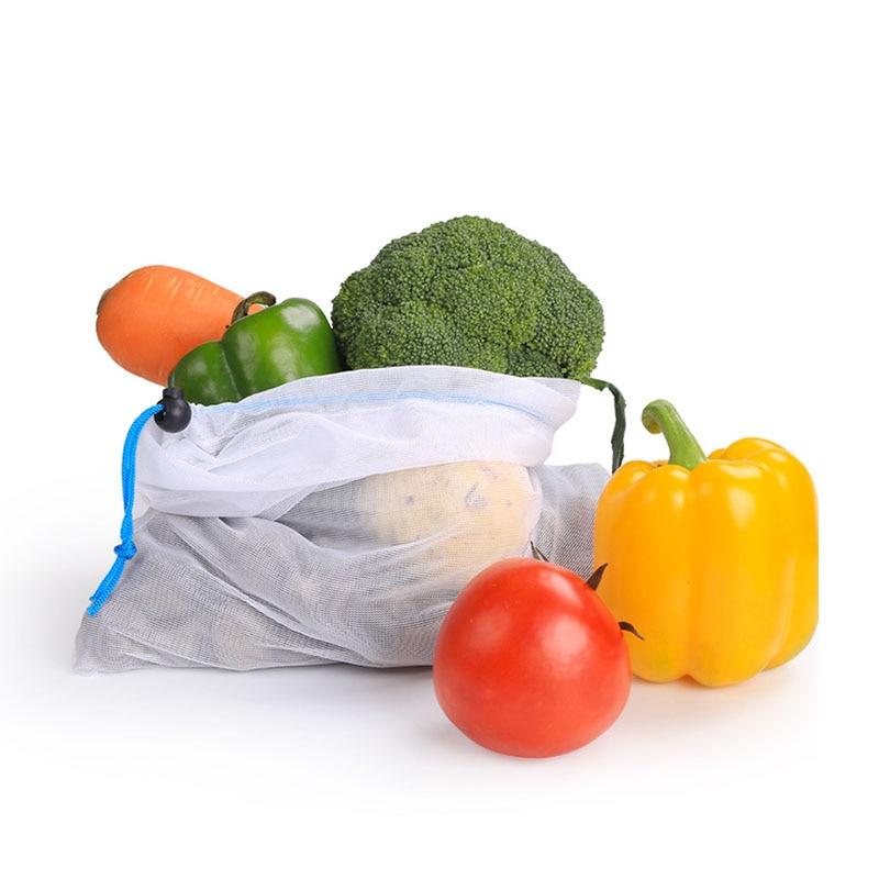 Bolsas de Malla reutilizable bolsa de compras ecológica para frutas, verduras, supermercado, compras plegables blancas