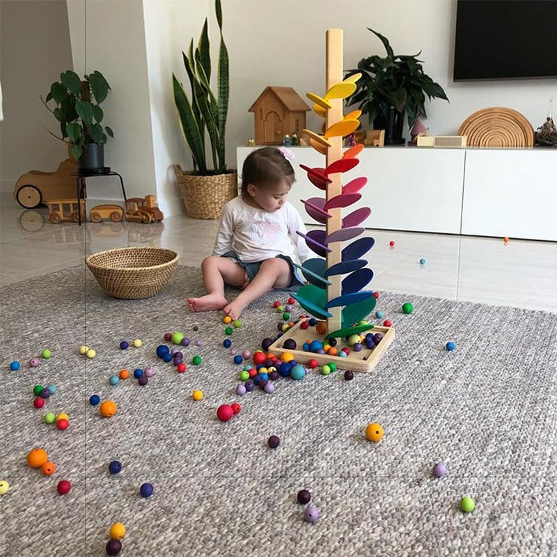 Juguete interactivo de madera con sonido de árbol para niños, juguete educativo de madera con sonido de mármol, bloques de Jenga