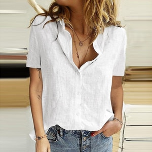 40# Office Lady Solid Color Blouses Women Casual Turn-down Collar Short Sleeve Shirt Tops Elegant Summer Women Blouses Blusas