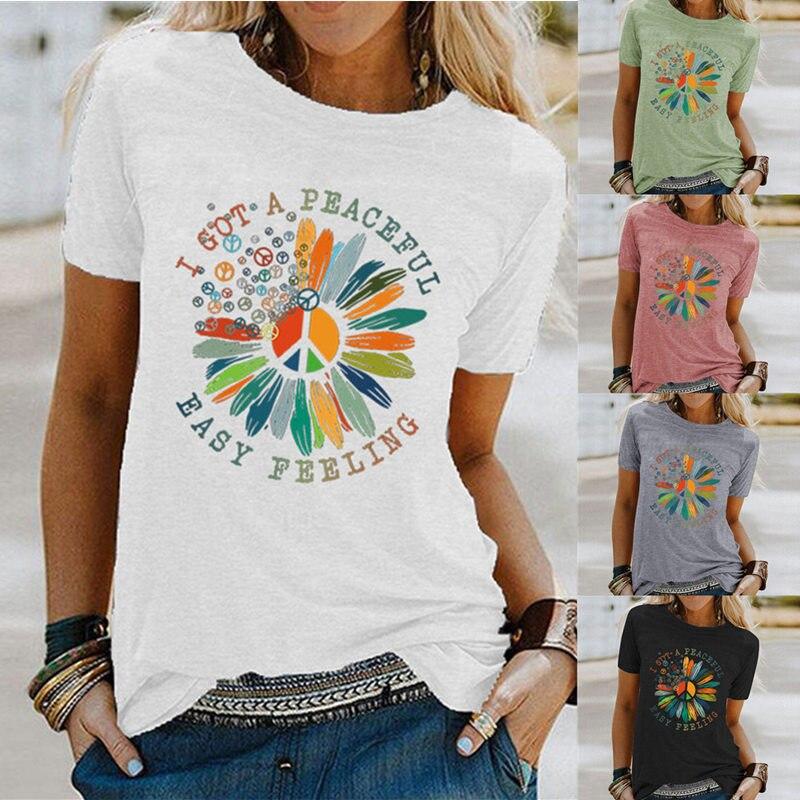 Mulheres EU Tenho UMA Solução Pacífica Sentimento Fácil Girassol Floral Engraçado Estética Gráficos T-Shirt Tee Senhoras Parte Superior Ocasional Moderno