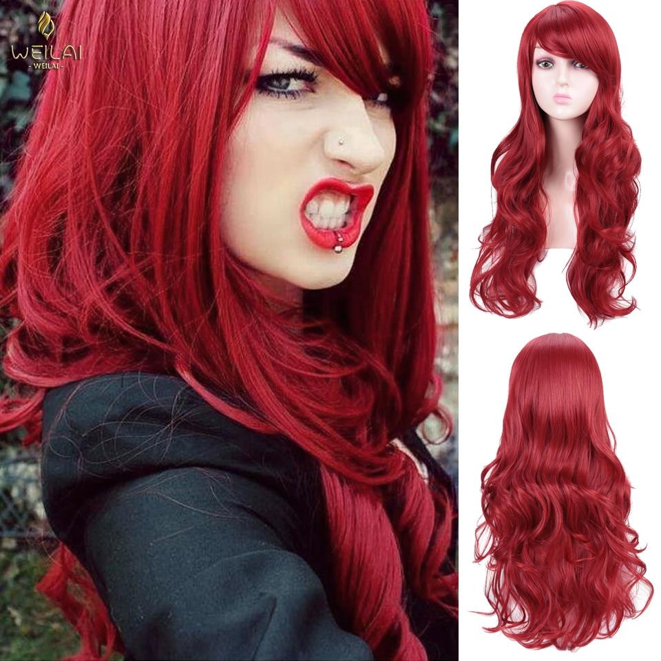 WEILAI pelucas para cosplay de pelo largo rojo rizado largo volante grande