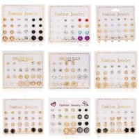 new 12 pairset shiny crystal stud earrings for women flower star heart pearl earrings party wedding jewelry for student gifts