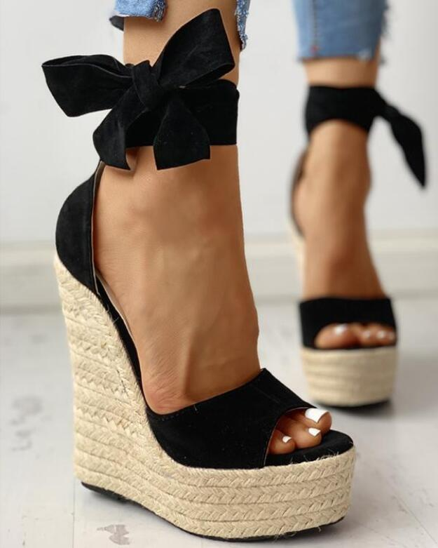 35~42 Women Wedge Sandals Female Platform Bohemia High Heel Sandals Fashion Ankle Strap Open Toe Ladies Shoes Zapatos De Mujer