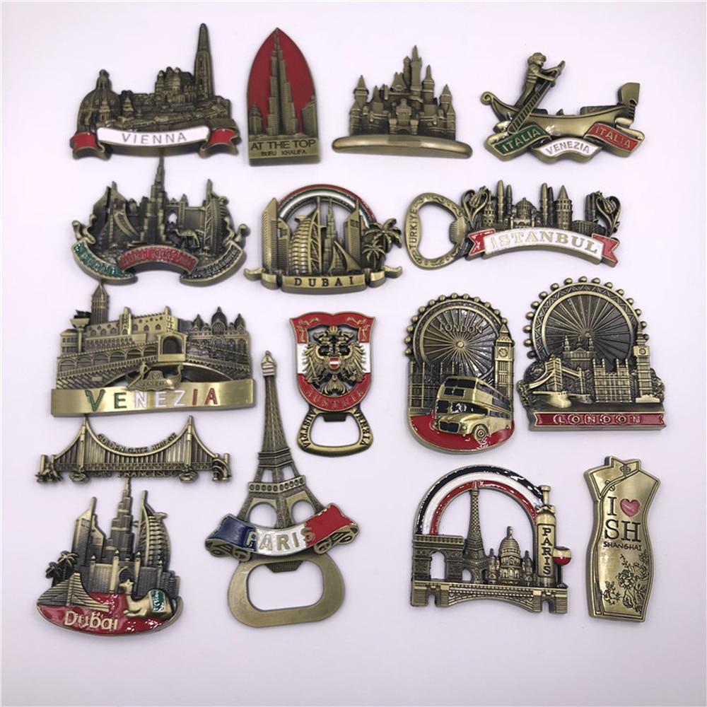 Imanes de recuerdo magnéticos para nevera babelemi Metal New York Vienna Venice London Paris Estambul Dubai Turquía