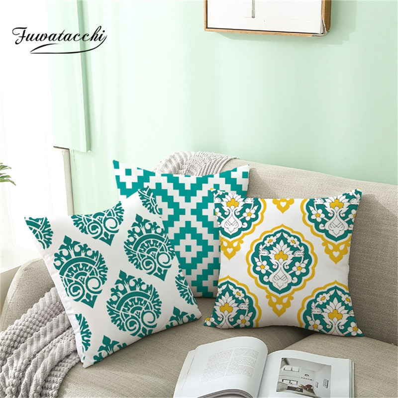 Fuwatacchi estilo nórdico geométrico capa de almofada verde para casa sofá fronhas decorativas poliéster lance travesseiros