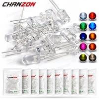 Комплект светодиодных светильников, комплект из 100 светодиодов 5 мм, теплый белый, красный, синий, зеленый, УФ, оранжевый, желтый, розовый цвет...