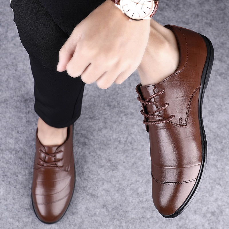 2021 Style Fashion Men's Shoes Casual Genuine Leather Male Classics Solid Brown Black Lace Up Shoe Man Comfortable Shoes For Men