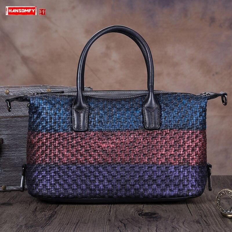 2020 Vintage de cuero de las mujeres bolso hecho a mano mujer bolso de cuero de Damas bandolera de hombro Retro bandolera grande bolsas suave