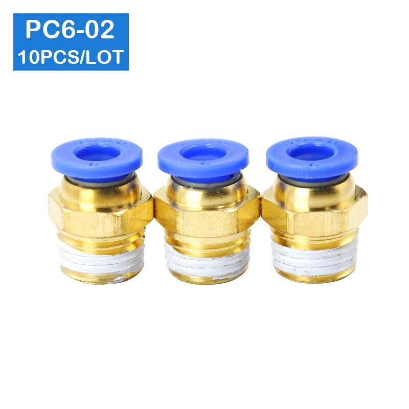 """Alta qualidade 10 pces bspt PC6-02, 6mm a 1/4 """"conectores pneumáticos masculino em linha reta encaixes de um toque"""