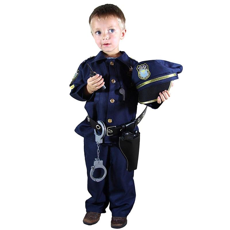 Роскошный костюм полицейского и комплект для ролевых игр для мальчиков на Хэллоуин, карнавал, вечеринку, выступление, нарядное платье, униф...