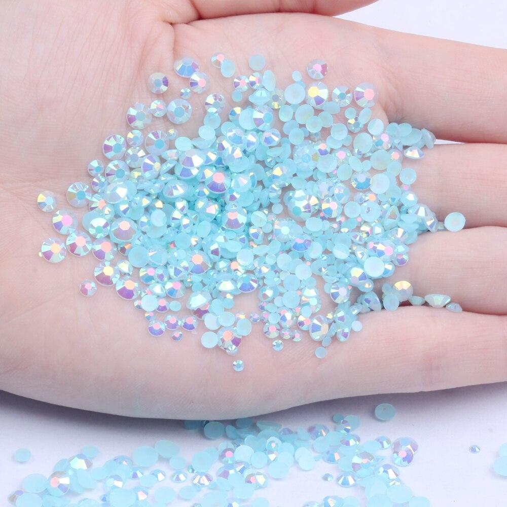 Diamantes de imitación de resina azul claro AB 1000 Uds 2-5mm redondo Flatback apliques de diamantes no Hotfix para vestidos de boda de tela artesanal