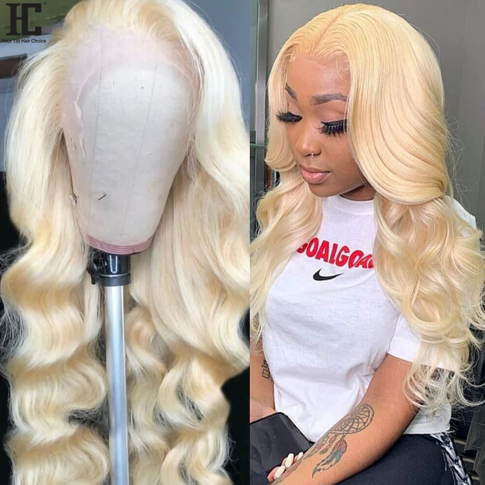 613 Lace Front Wig Brazilian Body Wave Blonde 13x4 Lace Frontal Wig Pre Plucked Transparent 613 Lace Front Human Hair Wigs 150%