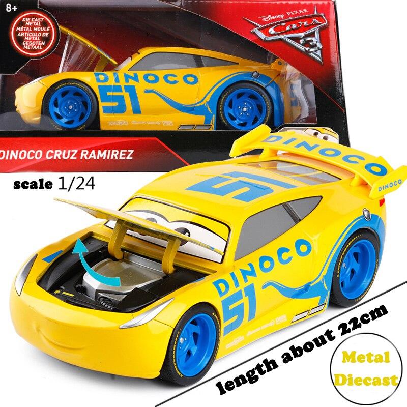 Disney Pixar Cars 3 Large Cruz Ramirez 1:24 Alloy Car Model Lightning McQueen Black Storm Jackson Model  Toys for Children