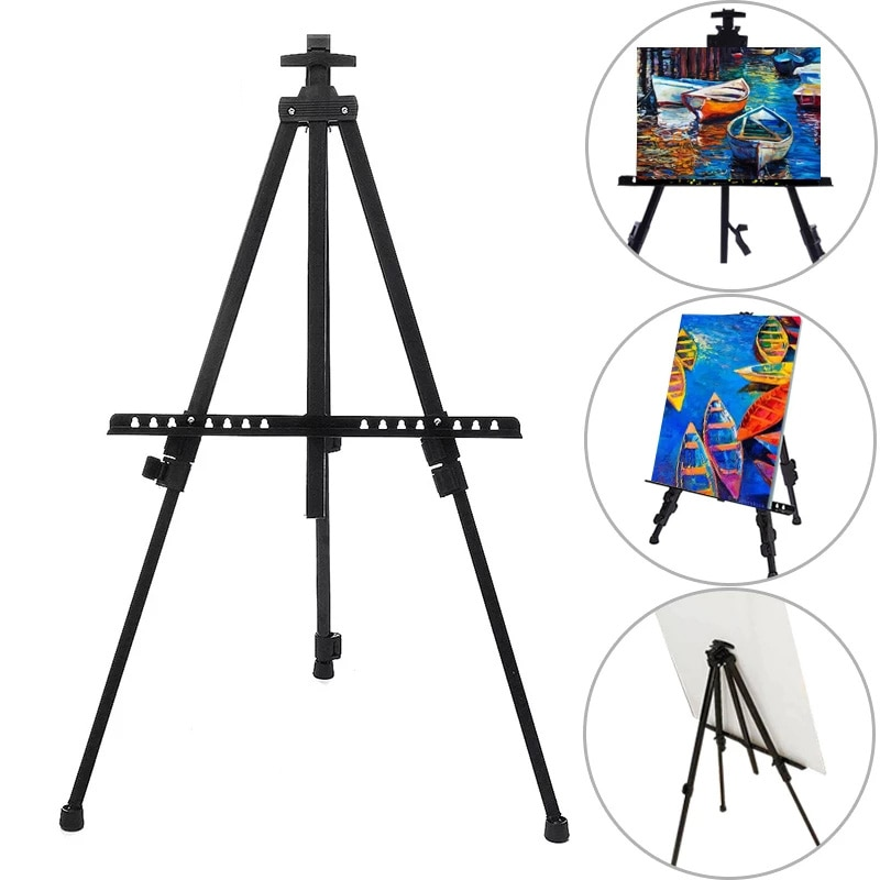 Portable Adjustable Metal Sketch Easel Stand Foldable Travel Easel Thicken Aluminum Alloy Easel Sketch Drawing For Art Supplies
