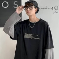 cotton autumn fake two piece mens long sleeved t shirt male students korean style loose trendy clothes youth mens clothing