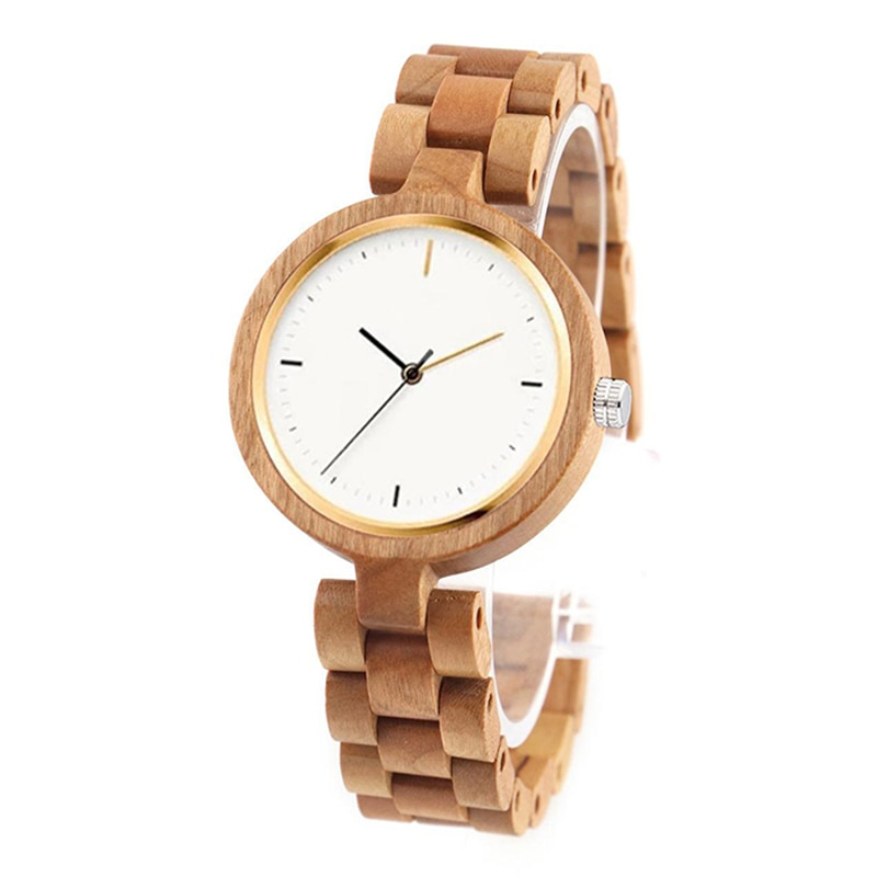 Dropshipping Girls Affordable Wristwatches Women Wifes Real Red Sandal Wood Bamboo Bracelet Wrist Watch for Her enlarge