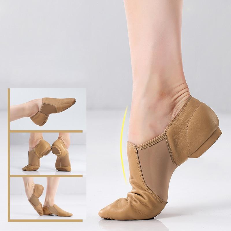 حذاء رقص الجاز من الجلد الطبيعي للبنات والنساء ، نعل غير قابل للانزلاق ، حذاء جاز عالي الجودة للكبار