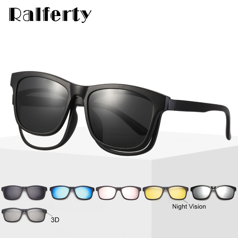 Ralferty Magnet Sunglasses Men Eyeglass Frames With Clip On Sunglass Women Polarized UV400 TR90 3D N