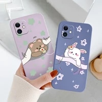 rabbit for iphone 11 12 pro max mini pro case bear soft cover iphone max x xr xs max se2020 8 7 6 6s shockproof phone case